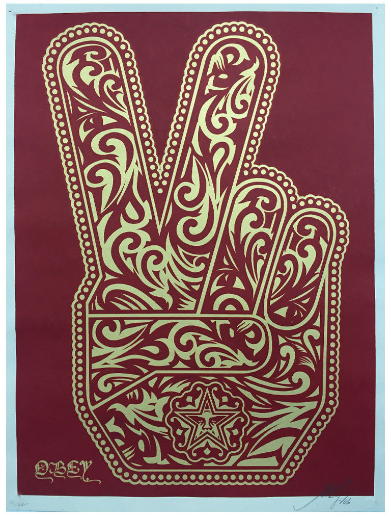Shepard Fairey - Peace Fingers (Red)