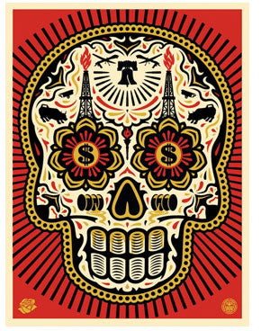 Shepard Fairey Power & Glory - Day of the Dead Skull - Red