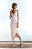 SAMPLE SALE Cross Over Midi Dress in Blush