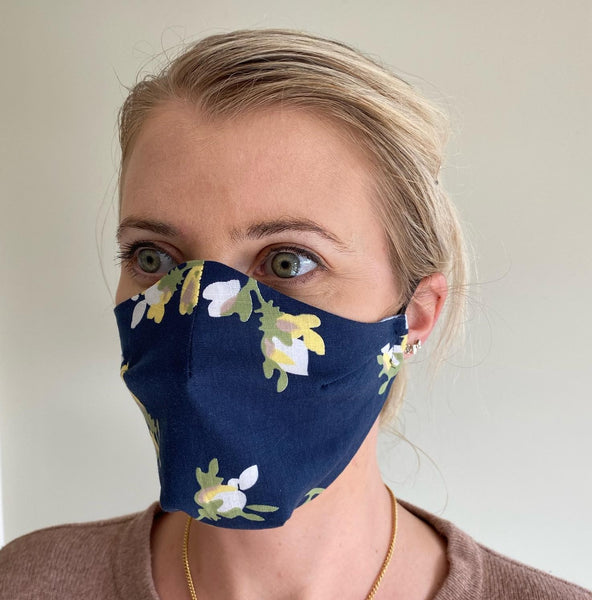 Face Mask - Navy Floral