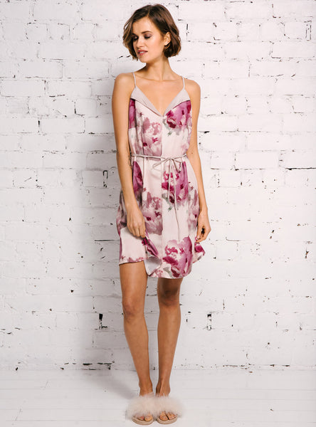 Silk Trim Nighty in Peony Print