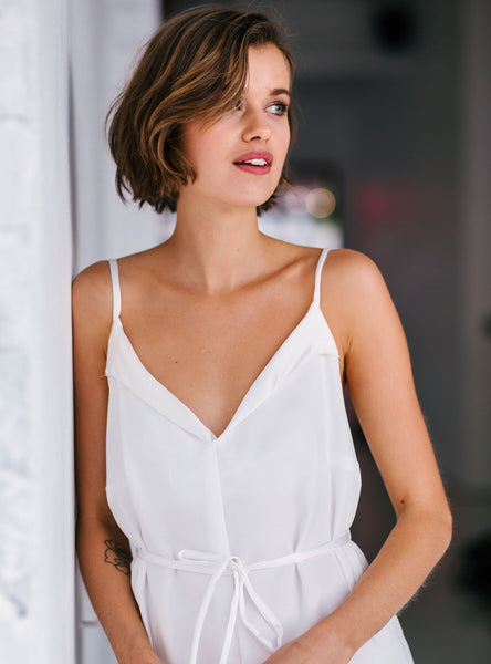 Silk Trim Nighty in White