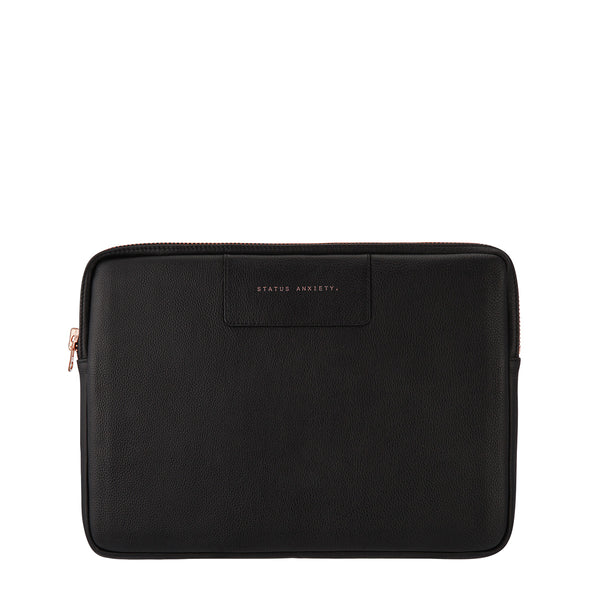 Before I Leave Laptop Case in Black with Rose Gold zip by Status Anxiety