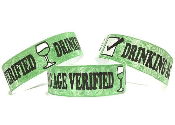 100x Drinking Age Verified 19mm Tyvek Wristband