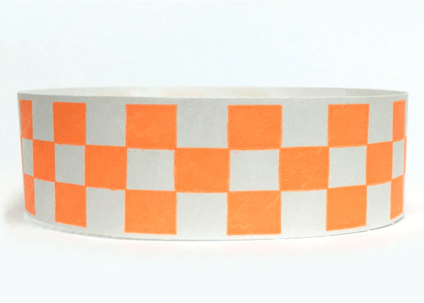100x Orange Checkboard 19mm Tyvek Wristband