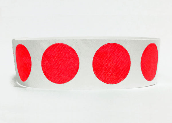 100x Red Circles 19mm Tyvek Wristband