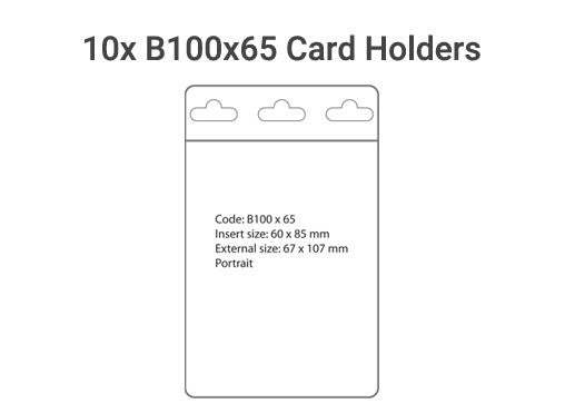 10x B100x65 Plastic Card Holder
