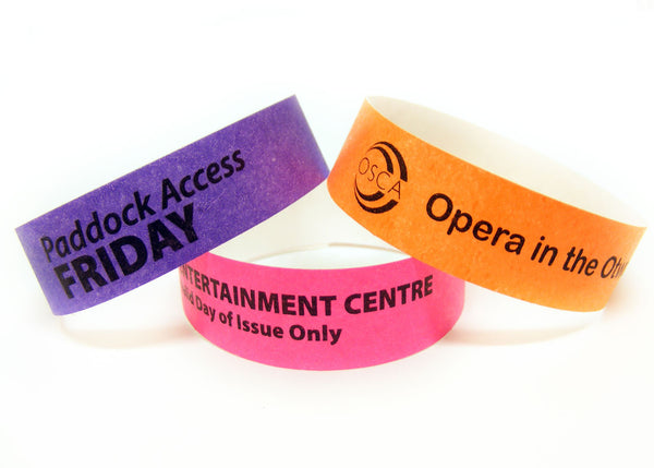 100x 19mm Custom Printed Plain Tyvek Wristbands