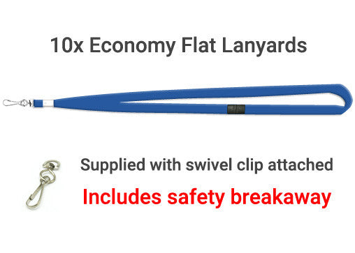 10x Royal Blue Economy Lanyard