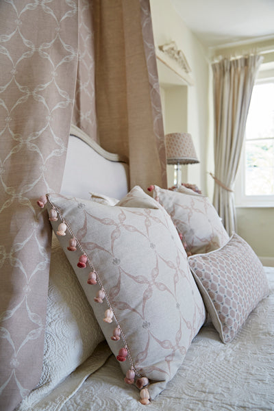 Pheasant & Feather Cushion | Blush & Taupe