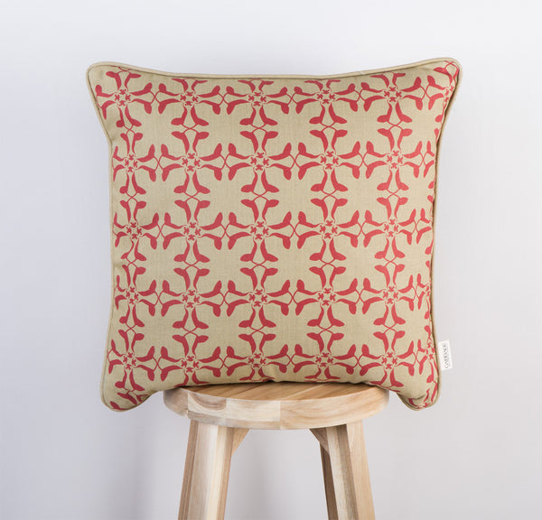 Cumberland Cow Cushion | Scarlett Red & Gold