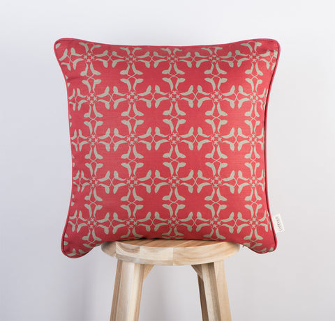 Cumberland Cow Cushion | Scarlett Red & Olive
