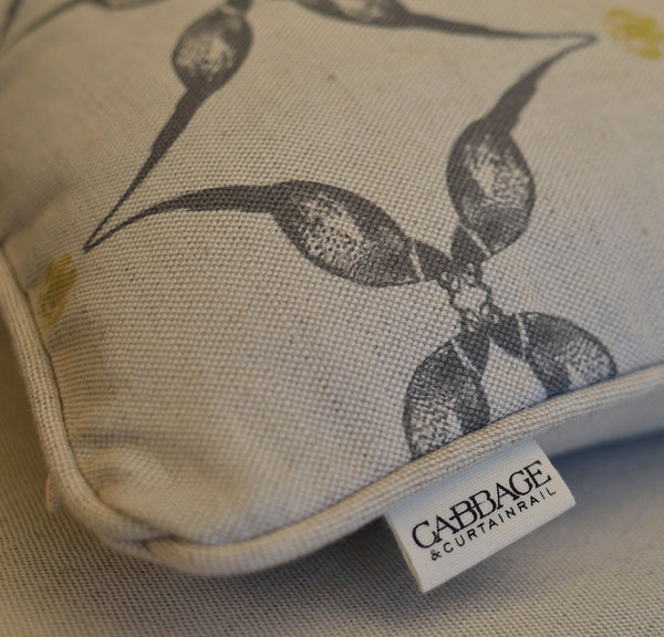 Pheasant & Feather Cushion | Pewter on Natural