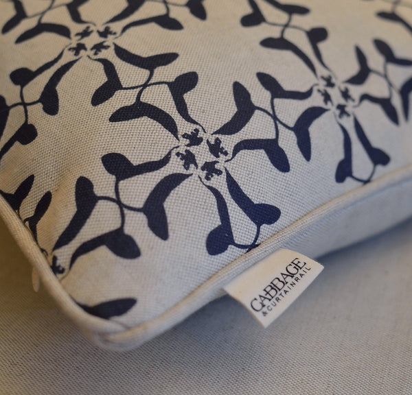 Cumberland Cow Cushion | Navy on Natural