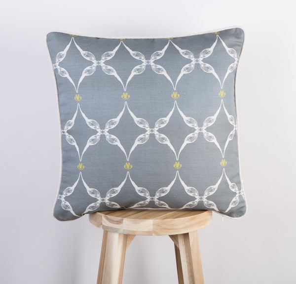 Pheasant & Feather Cushion | Slate & Lime