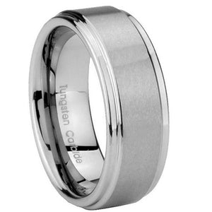8mm Tungsten Carbide Silver Color Step Edges Men Bands Ring