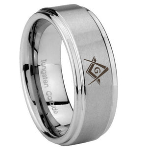 8mm Freemason Masonic Step Edges Brushed Tungsten Carbide Mens Wedding Band