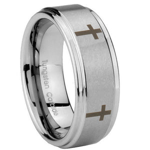 8mm Crosses Step Edges Brushed Tungsten Carbide Men's Wedding Band