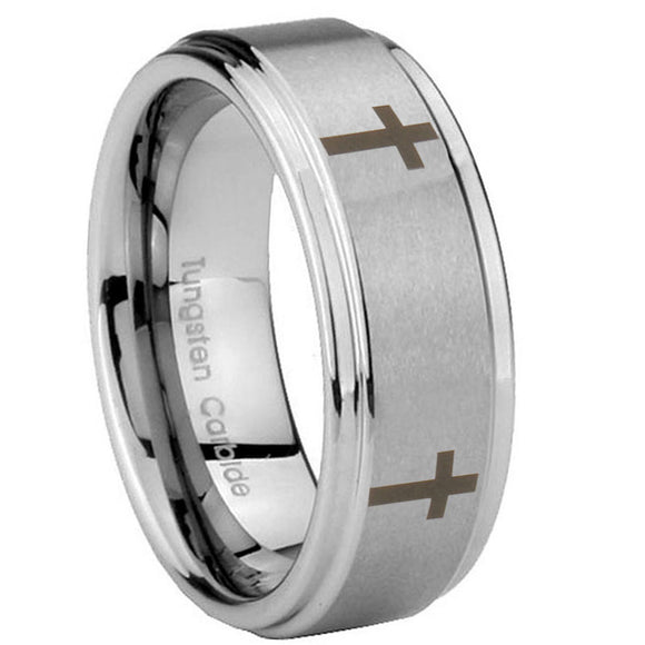 10mm Crosses Step Edges Brushed Tungsten Carbide Mens Anniversary Ring