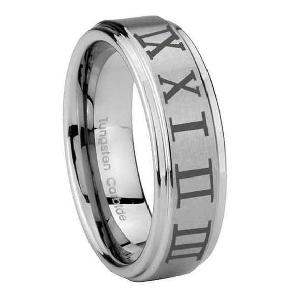 8mm Roman Numeral Step Edges Brushed Tungsten Carbide Custom Mens Ring
