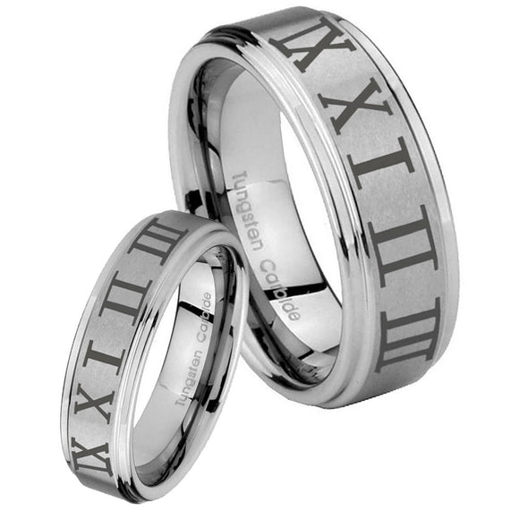 Bride and Groom Roman Numeral Step Edges Brushed Tungsten Carbide Men's Ring Set