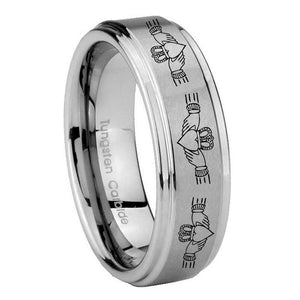 8mm Irish Claddagh Step Edges Brushed Tungsten Carbide Custom Ring for Men