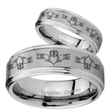 His Hers Irish Claddagh Step Edges Brushed Tungsten Mens Ring Engraved Set