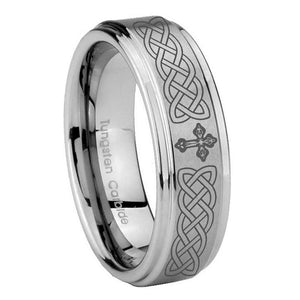8mm Celtic Cross Step Edges Brushed Tungsten Carbide Engagement Ring