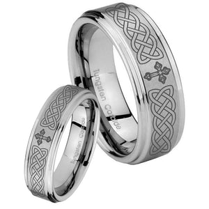 His Hers Celtic Cross Step Edges Brushed Tungsten Mens Ring Personalized Set