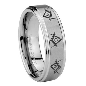 10mm Master Mason Masonic  Step Edges Brushed Tungsten Carbide Promise Ring