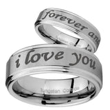 8mm I Love You Forever and ever Step Edges Brushed Tungsten Mens Engagement Band
