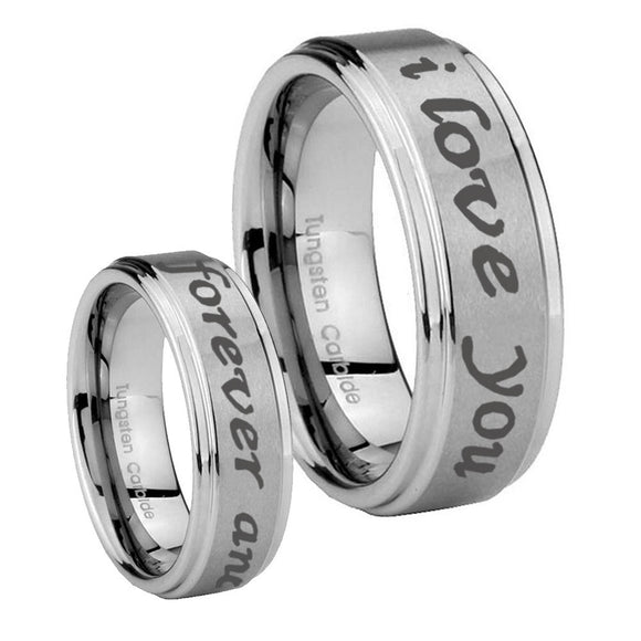 His Hers I Love You Forever and ever Step Edges Brushed Tungsten Promise Ring Set