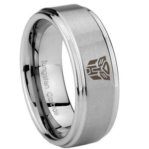 8mm Transformers Autobot Step Edges Brushed Tungsten Carbide Engraved Ring