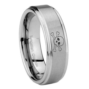 10mm Skull Step Edges Brushed Tungsten Carbide Mens Engagement Ring