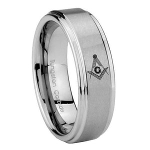 8mm Master Mason Masonic Step Edges Brushed Tungsten Carbide Mens Ring