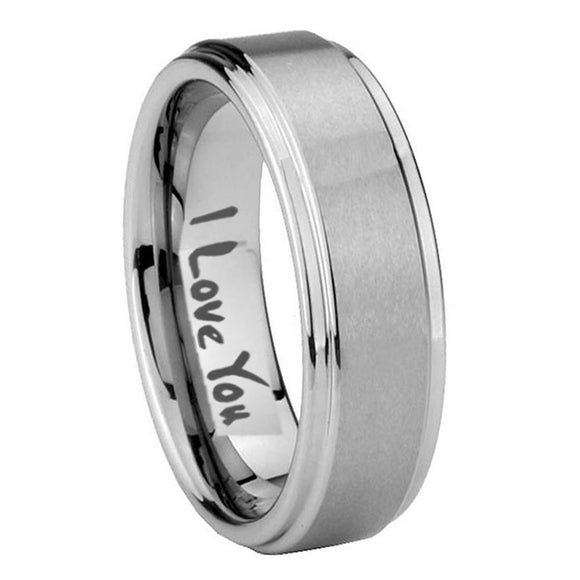 8mm I Love You Step Edges Brushed Tungsten Carbide Mens Ring Engraved