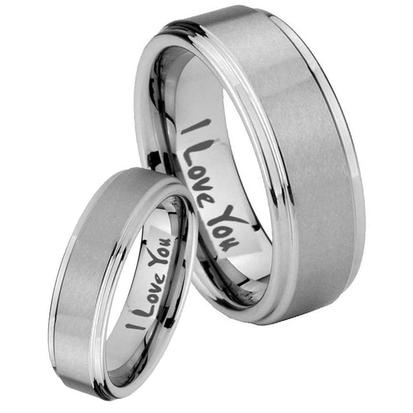 Bride and Groom I Love You Step Edges Brushed Tungsten Carbide Bands Ring Set