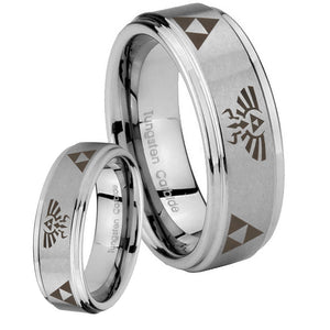 His Hers Legend of Zelda Step Edges Brushed Tungsten Custom Mens Ring Set