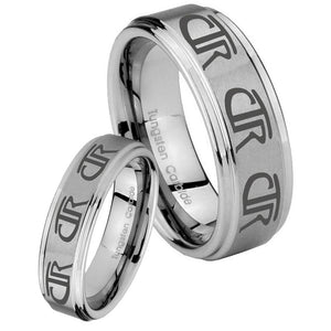 His Hers Multiple CTR Step Edges Brushed Tungsten Custom Ring for Men Set