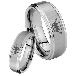 Bride and Groom Crown Step Edges Brushed Tungsten Men's Engagement Band Set