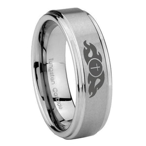 10mm Flamed Cross Step Edges Brushed Tungsten Carbide Wedding Band Ring