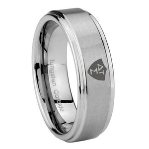 8mm Greek CTR Step Edges Brushed Tungsten Carbide Men's Engagement Ring