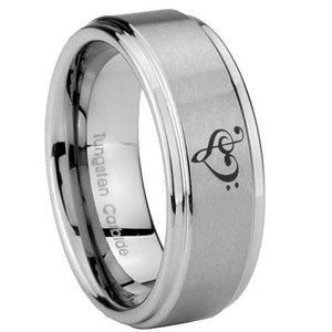 8mm Music & Heart Step Edges Brushed Tungsten Carbide Men's Bands Ring