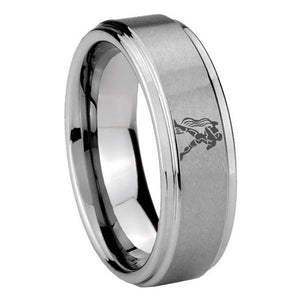 10mm Aquarius Zodiac Horoscope Step Edges Brushed Tungsten Engraved Ring