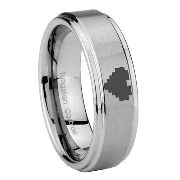 8MM Zelda Heart Step Edges Silver Tungsten Carbide Laser Engraved Ring