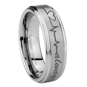 8mm Heart Beat forever Heart always Step Edges Brushed Tungsten Mens Ring