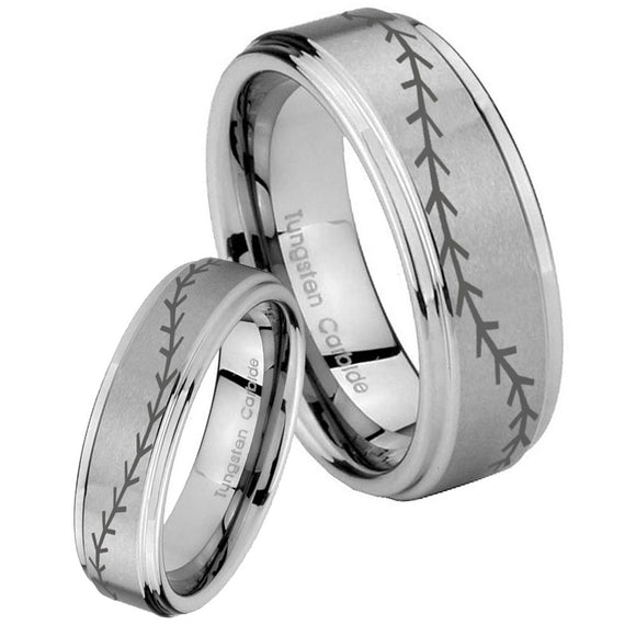 His Hers Baseball Stitch Step Edges Brushed Tungsten Custom Ring for Men Set