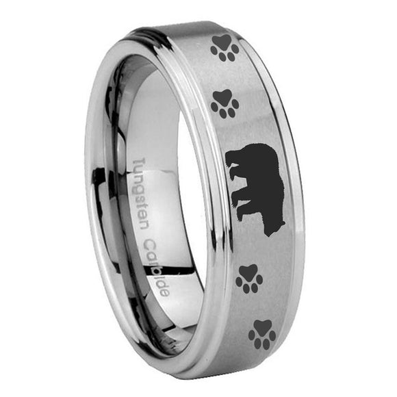 8mm Bear and Paw Step Edges Brushed Tungsten Carbide Mens Engagement Ring