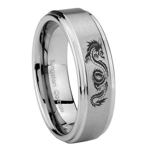 8mm Dragon Step Edges Brushed Tungsten Carbide Men's Wedding Band