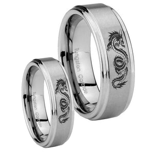 Bride and Groom Dragon Step Edges Brushed Tungsten Wedding Engraving Ring Set